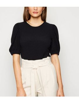Black Ribbed Puff Sleeve T Shirt by New Look