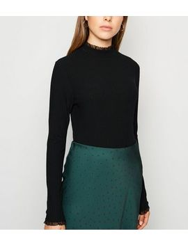 Black Ribbed Chiffon Trim Long Sleeve Top by New Look
