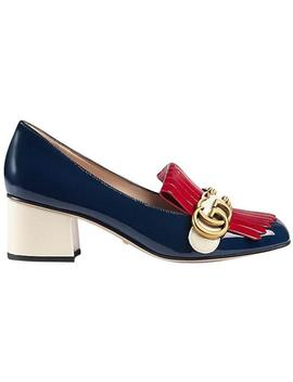 Blue Marmont Red White Patent Leather Gg Gold Spike Loafer Mule Heel Flats by Gucci