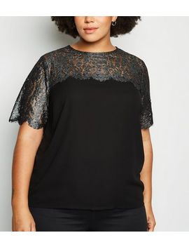 Curves Black Metallic Lace Panel Top by New Look