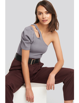 Cut Out One Shoulder Top Purple by Na Kd Trend