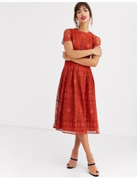 Asos Design – Koronkowa Sukienka Na Studniówkę Z Krótkim Rękawem by AsosDesign