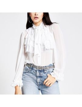 White Long Sleeve Ruffle Front Blouse by River Island