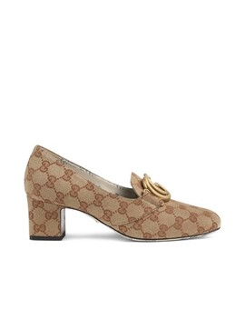 Beige Victoire Bm Round Toe Canvas Mid Heel Pumps by Gucci