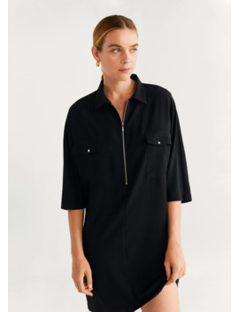 Zipper Shirt Dress by Mango