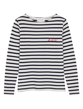Oh Lá Lá! Striped Fine Knit Cotton Top by Maison Labiche