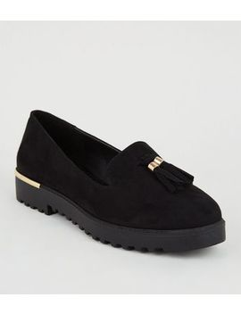 Black Suedette Chunky Tassel Loafers by New Look