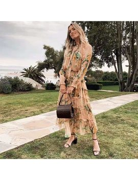 2019 Autumn Silk Dress Full Sleeve Ruffles Floral Print Bohemian Womend Dress by Ali Express.Com