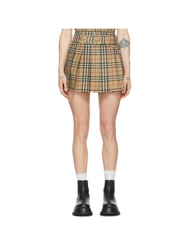 Beige Wool Carmen Miniskirt by Burberry