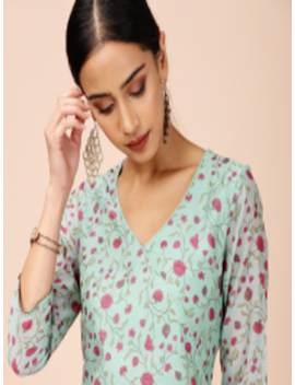 Women Sea Green & Pink Printed Angrakha Kurta With Palazzos by All About You