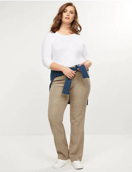Allie Tailored Stretch Straight Pant   Plaid by Lane Bryant