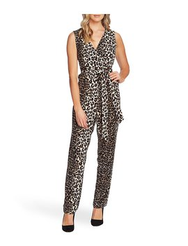 Sleeveless Belted Wrap Front Leopard Print Jumpsuit by Vince Camuto