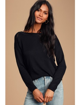 Pointelle Me More Black Knit Sweater by Lulus