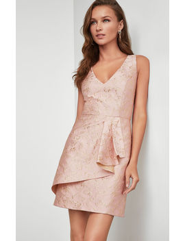 Metallic Asymmetric Peplum Dress by Bcbgmaxazria