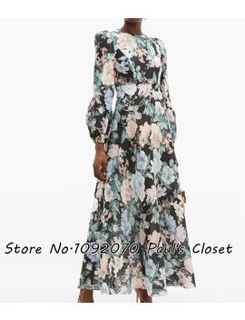 Women Balloon Sleeves Black Floral Print Maxi Dress Linen Long Dress by Ali Express.Com