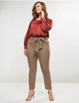 Allie Tailored Stretch Ankle Pant   Tie Waist Plaid by Lane Bryant