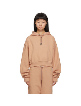 Beige Cropped Hoodie by Reebok By Victoria Beckham