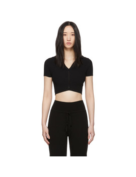 Black Seamless Crop Polo by Live The Process