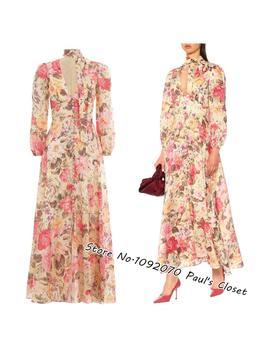 Women Lemon Floral Plunge Long Dress With Removable Neck Tie Linen Dress by Ali Express.Com