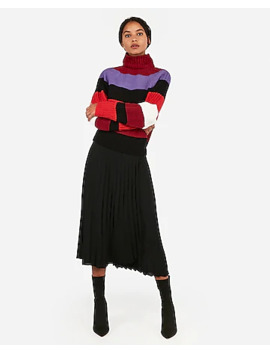Stripe Mock Neck Chenille Sweater by Express