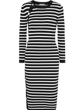 Arzel Button Detailed Striped Stretch Knit Dress by Altuzarra