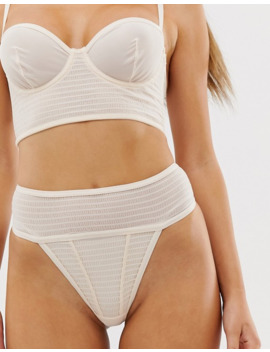 Asos Design Jaunie Textured Fabric Longline Underwire Bra And Thong by Asos