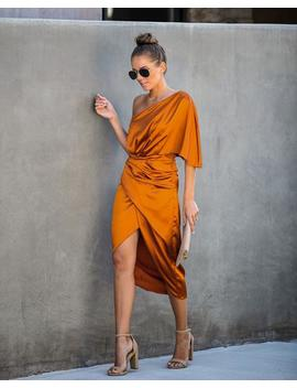 Preorder   Persimmon One Shoulder Satin Drape Dress by Vici