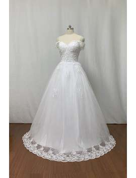 Custom Ball Gown Off The Shoulder Ivory Lace Tulle Long Wedding Dress Corset Back by Etsy