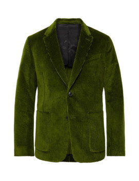 Green Cotton Corduroy Suit Jacket by Ami