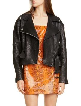 Charlie Belted Crinkled Leather Moto Jacket by Grlfrnd