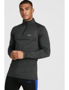 Man Active Funnel Neck Muscle Fit Marl Top by Boohoo Man