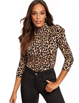 Leopard Print Puffed Sleeve Turtleneck Top by New York & Company