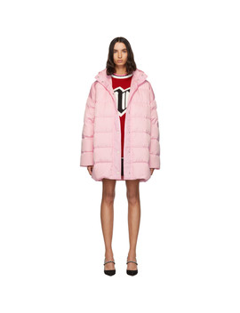 Pink Down Hooded Coat by Msgm