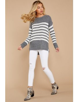 Getting Cozy Grey Stripe Sweater by Staccato