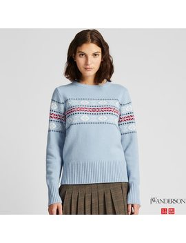 Women Jw Anderson Lambswool Blend Jacquard Crew Neck Jumper by Uniqlo