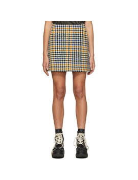 Multicolor Check Topstitch Miniskirt by Mcq Alexander Mcqueen
