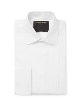 Cream Eton Slim Fit Bib Front Double Cuff Cotton Poplin Tuxedo Shirt by Favourbrook