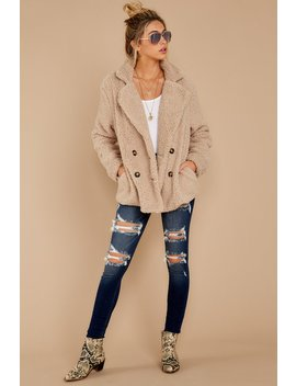 City Nights Tan Sherpa Coat by Fable