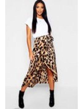 Leopard Print Satin Wrap Midaxi Skirt Leopard Print Satin Wrap Midaxi Skirt by Boohoo