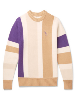 Logo Embroidered Colour Block Wool Blend Sweater by Aimé Leon Dore