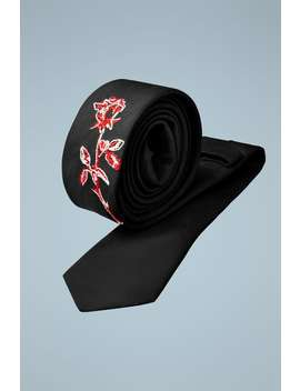 Narrow Floral Embroidered Tie by Zara