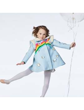 Girl's Rainbow And Butterfly Coat In Sky Blue by Etsy