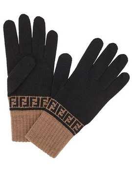 Strikkede Handsker Med Ff Tryk by Fendi