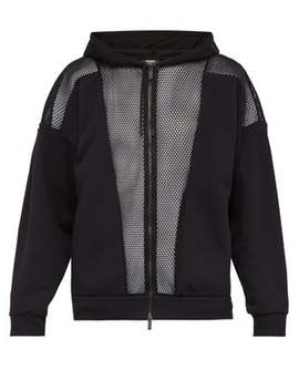 Mesh And Jersey Hooded Sweatshirt by Fendi