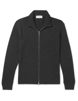 Ribbed Merino Wool Zip Up Sweater by Officine Generale