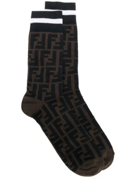 Patterned Logo Socks by Fendi