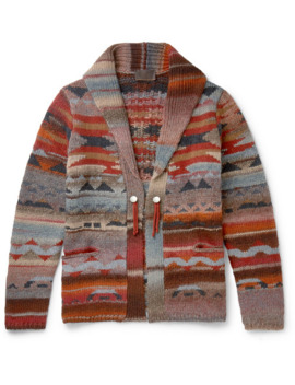 Virgin Wool Blend Jacquard Cardigan by Altea