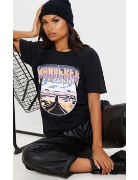 Black Wanderer Oversized T Shirt by Prettylittlething