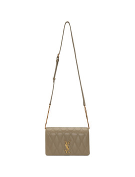 Taupe Angie Chain Bag by Saint Laurent