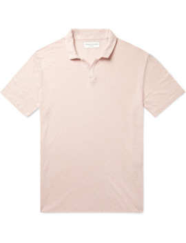 Simon Garment Dyed Slub Linen Polo Shirt by Officine Generale